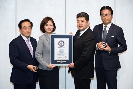 image : From left, Mr. Shimomura, President and CEO, Mitsubishi Precision / Ms. Ogawa, Vice President of Guinness World Records Japan / Mr. Ishikawa, General Manager of Corporate Communication Office, MinebeaMitsumi / Mr. Kainuma, President, CEO & COO, MinebeaMitsumi